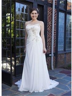 2015 Plus Size Wedding Dresses White Column Strapless Beads Lace Chiffon Bridal Gowns APW023