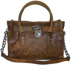 Michael Kors Mocha Leather Hamilton EW Satchel Tote Handbag Shoulder Bag