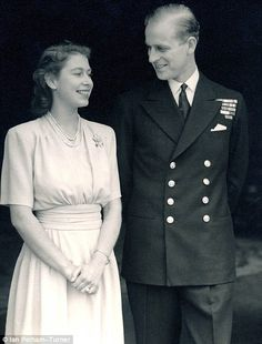 1947: Engagement. Future Queen Elizabeth II (Elizabeth Alexandra Mary) (1926-living2013) UK after announcing her engagement to Prince Phillip Duke of Edinburgh (Philip Mountbatten-born Prince Philip) (1921-living2013) Greece by unknown artist.