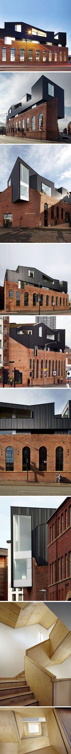 Project Orange est un studio d'archi qui vient d'ajouter deux étages sur le toit d'un entrepôt en brique. En lieu et place un nouveau restaurant et bar au style  victorien.     Source