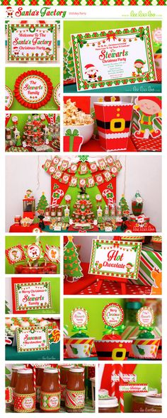•• Santa's Factory Holiday Party Theme ••  Shop Them Here:  https://www.etsy.com/shop/LeeLaaLoo/search?search_query=h3&order=date_desc&view_type=gallery&ref=shop_search  ♥♥ Vendor Credits:  ♥ Party Styling: LeeLaaLoo - www.leelaaloo.com  ♥ Party Printable Design & Decoration: LeeLaaLoo - www.etsy.com/shop/leelaaloo  Our YouTube channel for some DIY tutorials here: http://www.youtube.com/leelaaloopartyideas
