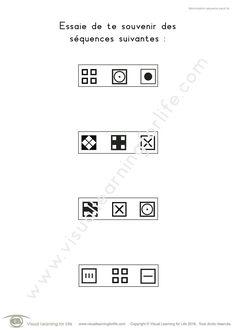 Dans les fiches de travail « Mémorisation séquence carré » l'élève doit identifier la séquence identique à celle qu'il a vu sur la première page, de mémoire.