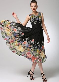 Chiffon Floral Sleeveless Mid-Calf Elegant Dresses (1036959) @ floryday.com
