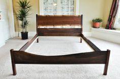 walnut bedframe with live edge Live Edge Furniture, Bedroom Furniture, Bedding Inspiration, Walnut Slab, Futon Mattress, Queen Headboard, Live Edge Wood, Metal Beds, Shelf Design