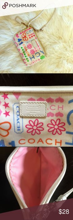 Adorable coach wristlet Super cute mini coach wristlet. Strap and zipper are in perfect condition. Coach Bags Clutches & Wristlets