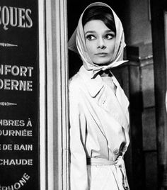 Audrey Hepburn her classic headscarf and trench coat