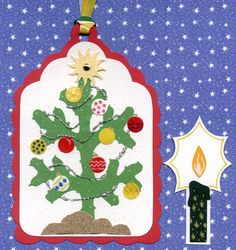 Christmas tag and candle embellishments. I used card stock, scissors, trims, dye cuts, ribbon, gel ink and paste.