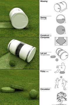 Muwi Automated Lawnmower. Grass cutting is a bore, but even the most monotonous chores can be remedied if you make it fun. The Muwi concept is an automated mower barreled shape to compact grass cuttings into balls and disks for, get this. . . to play with. Of course if you're the type that hates grass stains, these balls and disks are also perfect as compost fertilizer.