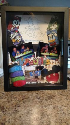 Disney World vacation shadow box Disney World Vacation, Disney Vacations, Disney Trips, Disney Magic Bands, Disney Diy, Walt Disney, Diy Photo, Disney Shadow Box, Disney Frames
