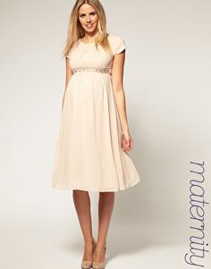 Image 1 of ASOS Maternity Exclusive Midi Dress With Embellishment