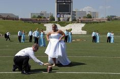 Football field Wedding Pic