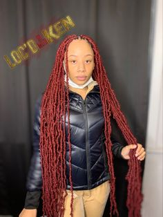 Braids Hairstyles Pictures, Faux Locs Hairstyles, Cute Hairstyles, Burgundy Faux Locs, Thighs, Hair Styles, Dresses, Fashion, Hairstyle