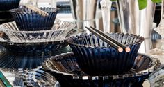 Looking for an oriental table setting? You'll love the deep blues of this Asian dinner party.  Tableware, Decorative Accessories and Lighting   Harlequin