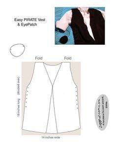 Black felt pirate vest with lace-up sides, eye patch pattern