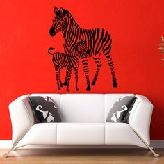 Zebra Wall Decals Animals Family Two Zebras Mother and Baby Interior Design Home Vinyl Decal Sticker Kids Nursery Baby Room Decor Dear Buyers, Welcome