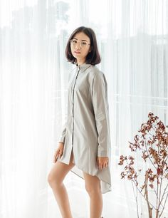 Yuanclothing - Mullet Oversized Shirt Dress