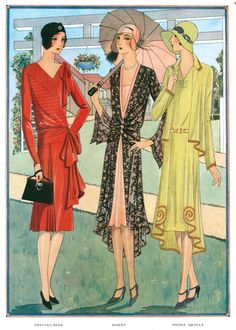 1920s Art Deco Fashion & Beauty France Jazz Age Umbrellas Women