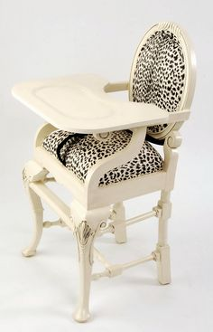 Distressed Ivory with Black/Ivory Leopard [O-Ivory/BlackLeop] : Baby High Chairs - Premium Quality - Available Online, Premium Quality, Elegant Custom Baby High Chairs