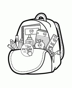 cartoon school supplies coloring page for kids back to school coloring pages printables free