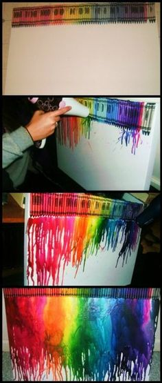 I think I might try this!  I guess all you need is a hairdryer, oaktag, glue, and a box of crayons...