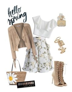 """feel spring!"" by kayearnold on Polyvore featuring Chicwish, Glamorous, Balmain, Topshop, Kate Spade, Forever 21, Marc by Marc Jacobs and springflorals"