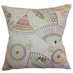 This stylish geometric throw pillow will add a modern twist to your interiors. This accent pillow is styled with an Oriental inspired theme. The geometric pattern comes in shades of purple, orange, green, brown and pink. The white background provides a stark contrast to the muted colors. This square pillow is made from a blend of 55% linen and 45% rayon fabric. This contemporary pillow is a great decor piece on its own. $55.00 #contemporary #indoorpillow #pillowcollection
