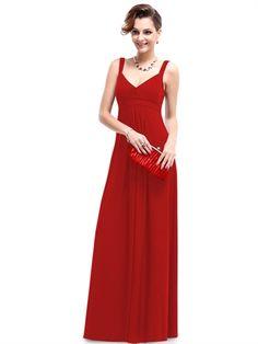 Beauty Red Straps V Neck A Line Floor Length Cheap Long Prom Dress