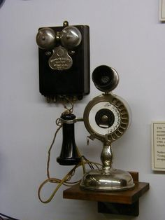 Strowger candlestick phone (which I own) with bell box (which I covet). Telephone Booth, Vintage Telephone, Radios, Antique Items, Vintage Items, Antique Phone, Retro Phone, Vintage Phones, Old Phone