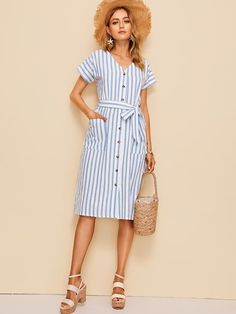 To find out about the Pocket Front Button Up Striped Belted Dress at SHEIN, part of our latest Dresses ready to shop online today! Belted Dress, Striped Dress, Gingham Dress, Casual Dresses For Women, Clothes For Women, Natural Clothing, Boat Neck Dress, Silver Dress, Boho Dress