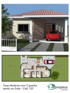 Cute little house! But How did the car get on the porch! 2 Bedroom House Plans, Dream House Plans, Modern House Plans, Small House Plans, House Floor Plans, My Dream Home, Rest House, House Blueprints, House Elevation