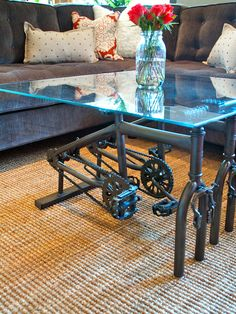 "Old bike frames used to make a table for Kevin's ""man room""? He would LOVE me for this!"