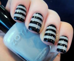 Nails painted with Zoya Dove then stripes added using Sally Hansen Xtreme Wear Black Out