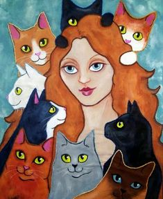 Cat-Lady-Art-Quilt.jpg (523×640)