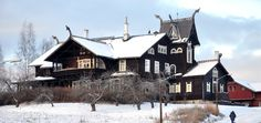Kornhaug Guest Farm in Gausdal is one of the Norway's most distinguished examples of the national romantic dragon style from the late 1800s. - From THE ESSENCE OF THE GOOD LIFE™   http://www.pinterest.com/LeneGede/   https://www.facebook.com/pages/The-Essence-of-the-Good-Life/367136923392157