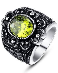 Arco Iris Jewelry – Joya hecha de acero inoxidable Anillo para mujer – estilo vintage – con detalle floral de tono amarillo – adorno de Zirconia Cúbica