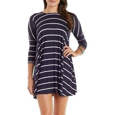 Charlotte Russe Navy Combo Striped Dropped Shoulder Trapeze T-Shirt... ($25) ❤ liked on Polyvore featuring dresses, navy combo, jersey dress, purple mini dress, short dresses, navy blue dress and purple dress