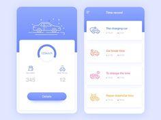 Auto record by Zero_Design Web Design, App Ui Design, Ui Design Mobile, Mobile Application Design, Interface Web, Interface Design, Photoshop, Car App, App Design Inspiration