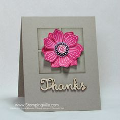 Clean and simple thank you card with Stampin' Up! Bloom For You stamp and coordinating punches + wood veneer greeting.
