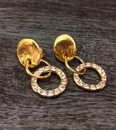 Swarovski pendientes oro pendientes de por KuentaAlKuadrado