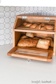 Build a beautiful DIY bread box with the Kreg Jig. This large bread box has plenty of room for multiple loaves of bread and a pull-out cutting board shelf. Diy Wood Box, Wood Boxes, Kitchen Furniture, Diy Furniture, Rustic Furniture, Antique Furniture, Modern Furniture, Furniture Outlet, Furniture Makeover