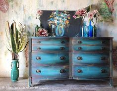 Gorgeous Bohemian Blue Dresser Buffet #paintedfurniture #affiliate