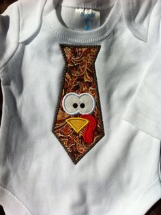 Boy Thanksgiving Shirt - Turkey Tie - Onesie or Shirt - Little Man Tie - Infant or Toddler - Personalized. $21.00, via Etsy.