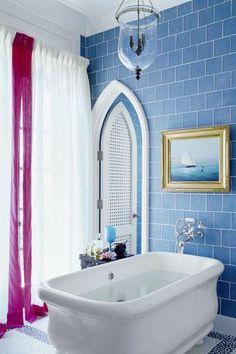 80 Best Bathroom Design Ideas - Gallery of Stylish Small & Large Bathrooms Bathroom Gallery, Bathroom Pictures, Bathroom Ideas, Shower Ideas, Navy Bathroom, Bathroom Tray, Bathroom Canvas, Bathroom Plans, Attic Bathroom