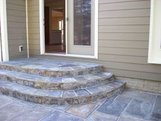 Exceptional Stone Patio Steps Flagstone Patio With Steps Exceptional Stone Patio Steps Flagsto Patio Steps, Patio Pavé, Cement Steps, Curved Patio, Outdoor Steps, Cement Patio, Flagstone Patio, Backyard Patio Designs, Brick Patios