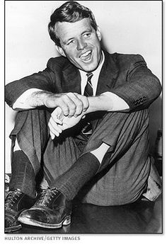 """""""During his brother's 1960 presidential campaign, Robert Kennedy enjoys a light moment."""" My Idol"""