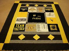 Piece N Quilt: T-Shirt Quilts are finished! - Crazy Shirt - Ideas of Crazy Shirt - Piece N Quilt: T-Shirt Quilts are finished! Rag Quilt, Quilt Top, Quilting Projects, Quilting Designs, Quilting Ideas, Football Quilt, Sports Quilts, Free Motion Quilting, Crazy Quilting
