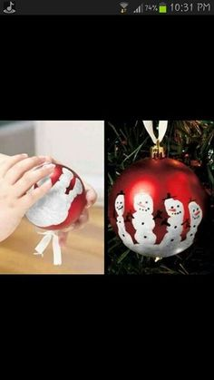 Kids Christmas craft.- Hand print Snowman - very cute for all ages.