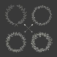 coleção coroa de flores desenhadas mão Vetor grátis