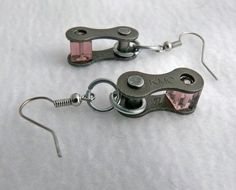 cool Cycling earrings recycled bicycle chain purple glass bike jewelry, Tour de Franc...