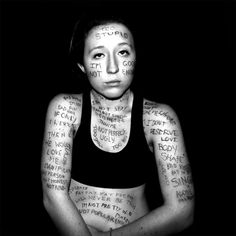 I researched common insecurities among women, and decided to write them (and my own) on my body, to see what carrying those negative labels is like.   I don't believe most of what I wrote on myself, but just seeing the words I could feel a difference. The weight on my shoulders increased, but girls judge themselves like this EVERY DAY.  Only the ink of the insecurities I felt about myself survived the shower, and I saw there were only two.  What I'm trying to say is, love what you got…